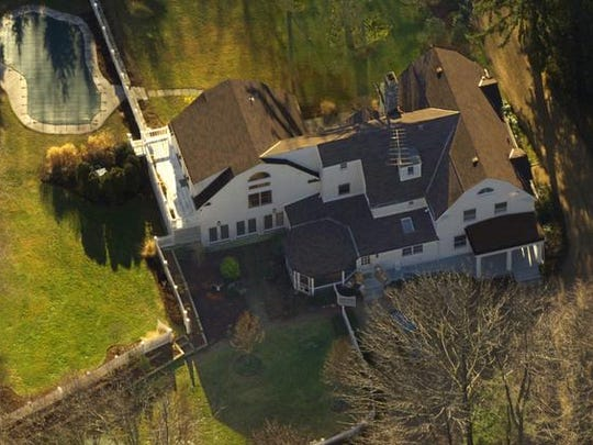 The Clintons' $1.7 million Chappaqua residence is seen in this aerial view.