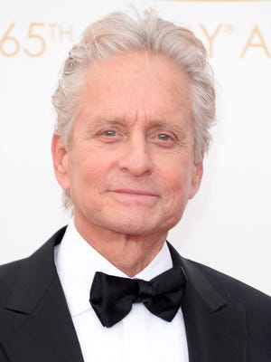 Michael Douglas arrives solo at the Emmys.