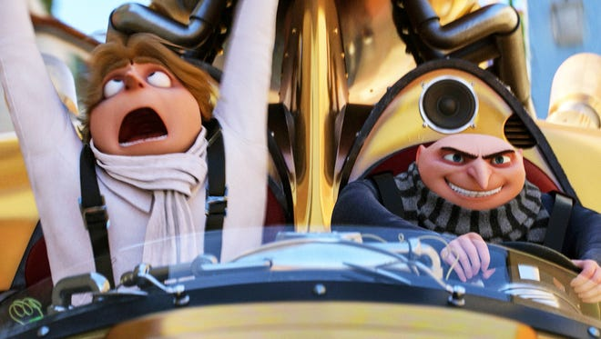 "Brothers Dru (left) and Gru (both voiced by Steve Carell) hit the road together in ""Despicable Me 3."""