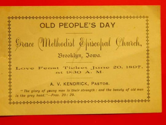 "The ""Old People's Day/Love Feast"" ticket mailed to Brooklyn's Grace United Methodist Church."