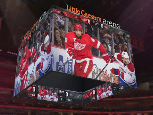 Little Caesars Arena scoreboard