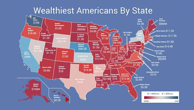 Wealthiest Americans by state