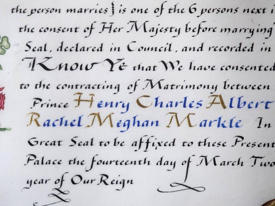 Bearing the names of Prince Harry and his fiancee Meghan