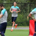 The Portuguese National Soccer team practiced at the New York Jets training facility in Florham Park in preparation for an international friendly match against Ireland. Here soccer superstar Cristiano Ronaldo (center) jogs around the practice field On Tuesday June 3,2014 Photo: Mark R. Sullivan/Staff Photographer