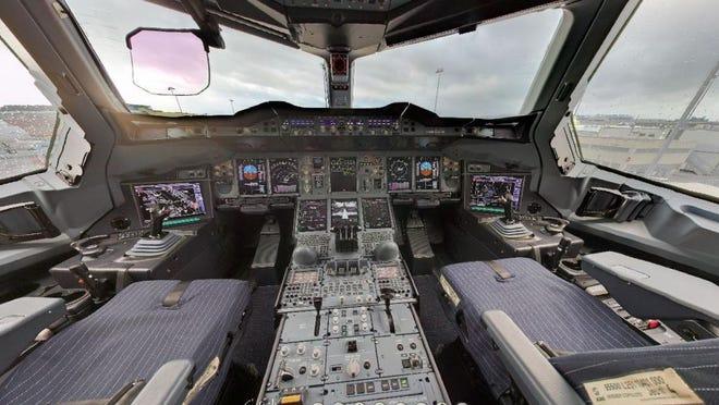 cockpit of A380, photo by  julien haler via Flickr