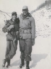 Hank Daub, right, served in the 10th Mountain Division during World War II.