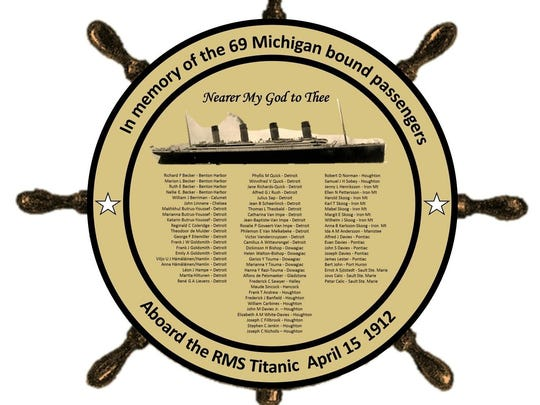 The Michigan Titanic Memorial to be unveiled in Marine City will feature the names of those passengers bound for Michigan who died when the ship sank.