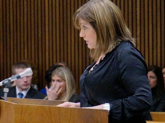 Angela Vitale, mother of victim Francesca Weatherhead, speaks to defendant John McCallum at the sentencing.