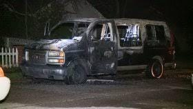 A man was critically injured when a van caught fire about 2 a.m. on the northeast side.