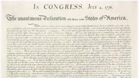 The Declaration of Independence, signed July 4, 1776, by the Second Continental Congress