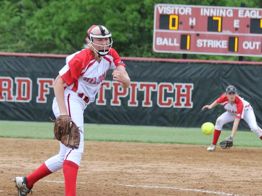 Milford junior pitcher Valerie Thompson delivers a pitch against Colerain May 12.