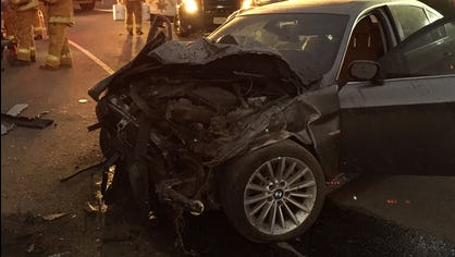 Two people suffered minor injuries when a vehicle rolled over Friday night on Highway 101 in Camarillo.