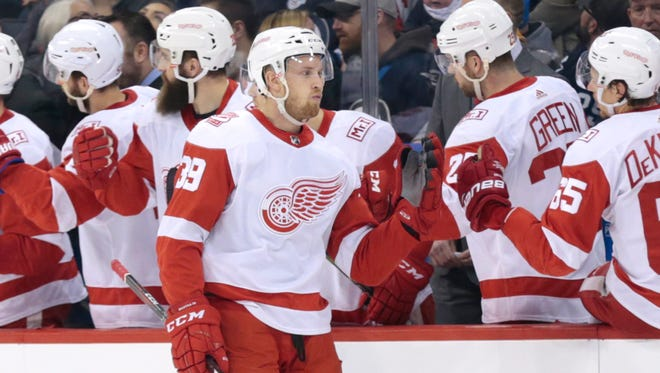 Anthony Mantha will have to keep his feet moving as he plays with Dylan Larkin at center.
