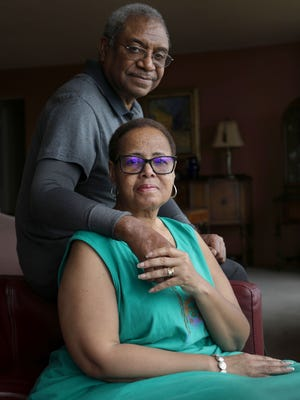 Rhonda Edwards, 63, and her husband Lonnie Jr. Edwards, 67, pose for a photograph at their home in Detroit on Wednesday, June 20, 2018.