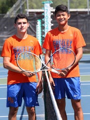 From left, Horace Greeley tennis players Dylan Glickman