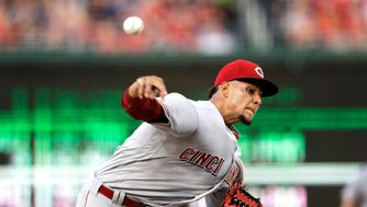 Cincinnati Reds starting pitcher Luis Castillo throws during the third inning of a baseball game against the Washington Nationals, Friday, June 23, 2017, in Washington.