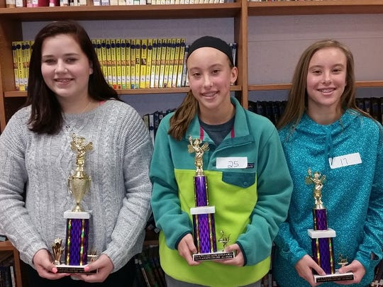 WJM 8th grade Spelling Bee winners: 1st Sara Street,