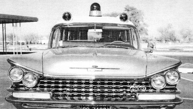 The first ambulance used by Paul and Cora Messinger in their ambulance service from about 1958.