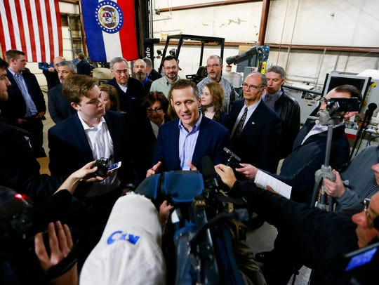 Missouri Gov. Eric Greitens takes questions from the