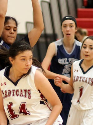 Junior Lady Cat Adriana Giron (14) has been asked to step up offensive production along with a solid core of Deming post players. The Lady Cats host Roswell High at 7 p.m. on Friday and will also host the Artesia Bulldogs at 3:30 p.m. on Saturday. Both games will be played at Frank Dooley Court on the campus of Deming High School.