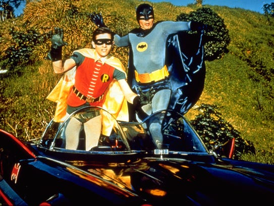 Batman (Adam West), right, and Robin (Burt Ward) POWnced
