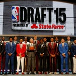 NBA draft prospects pose for a group photo with NBA commissioner Adam Silver before the 2015 NBA Draft at the Barclays Center.