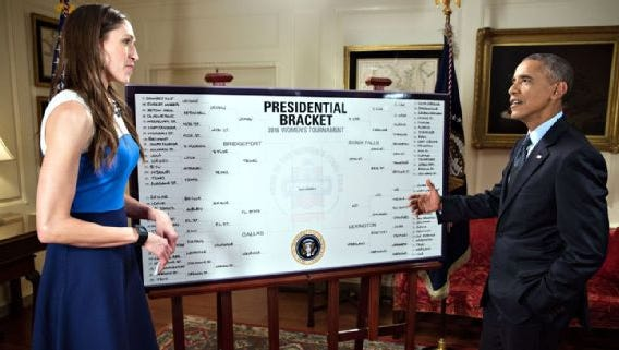 President Barack Obama, who has hosted UConn as national champs on five occasions since entering office in 2008, again picked the Huskies to win the NCAA tournament.