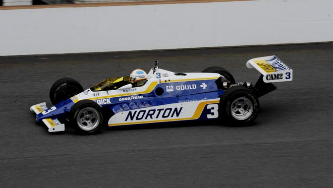 Bobby Unser in his 1981 Indy winner June 8, 2014, at the SVRA Brickyard Invitational vintage race event at the Indianapolis Motor Speedway.