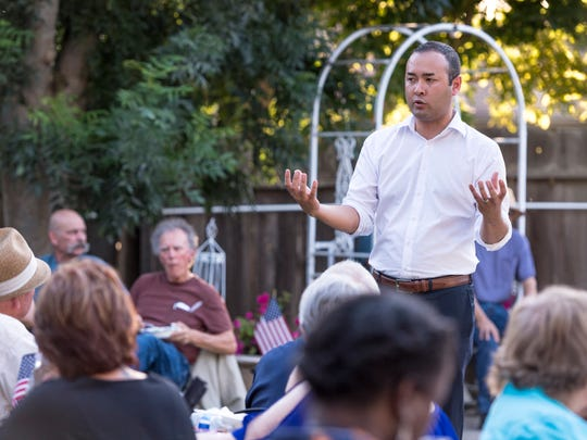 Democratic congressional candidate Andrew Janz spent time with supporters during a barbecue at a Visalia home on Friday, July 13, 2018.