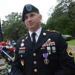 Staff Sgt. Alan M. Carroll, who is now stationed at Fort Polk, was wounded during the deadly attack by Maj. Nidal Hasan at Fort Hood, Texas, in 2009. He received the Purple Heart on Thursday during Fort Polk's Memorial Day ceremony.