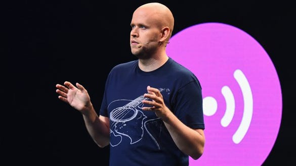 Spotify co-founder and CEO Daniel Ek speaking on stage