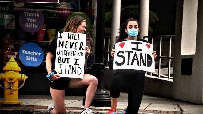Hundreds attended the peaceful protest in Belmont on June 3, 2020 in response to the killing of George Floyd in Minneapolis on May 25.