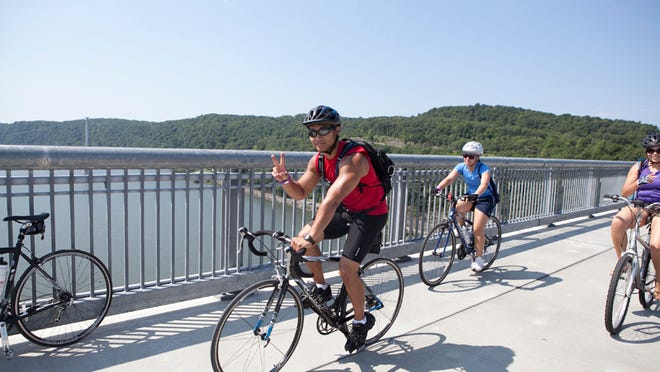 The Walkway over the Hudson is a popular spot for bikers that connects to two rail trails.