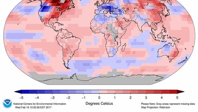 This map from the Asheville-based National Centers for Environmental Information shows variations in global temperatures from normal in January. The month was the third-warmest January on record.