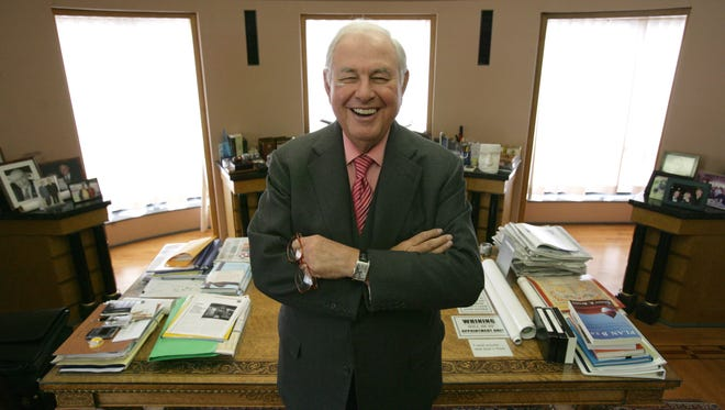 A. Alfred Taubman, founder of Taubman Centers, Inc., stands near his desk in his Bloomfield Hills office on Tuesday, April 3, 2007.