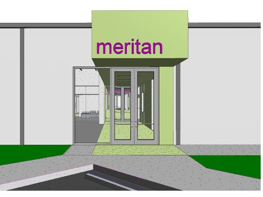 Rendering of what will be Meritan's main entrance, which will be the rear of the building