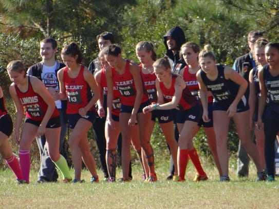 The Cleary University women's cross country team prepares