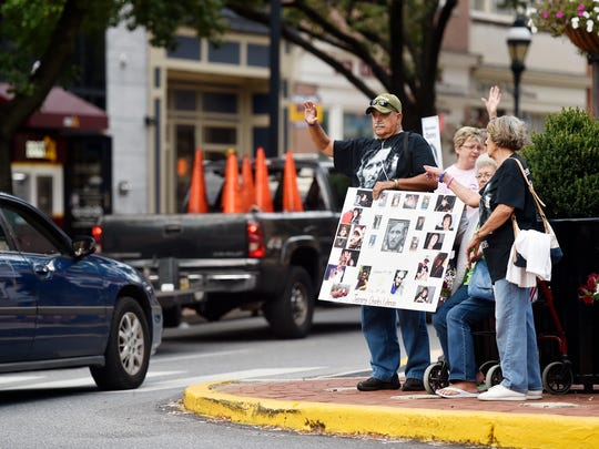 Families gather for an overdose awareness rally hosted by York's chapter of Not One More in August 2017 in downtown York. On Friday, York County said it was expecting to file a lawsuit against pharmaceutical companies in relation to the opioid epidemic.