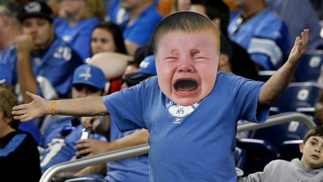 A Detroit Lions fan shows his frustration.