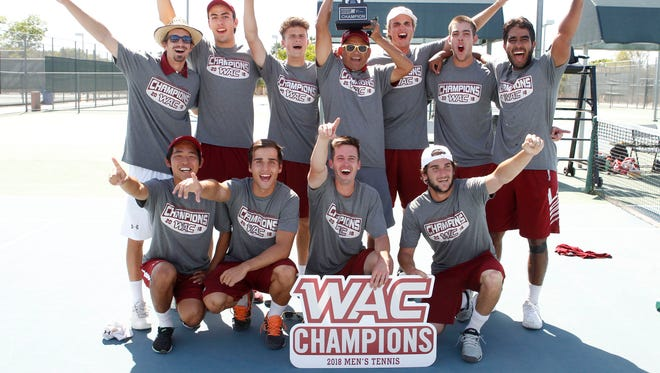 New Mexico State men's tennis won the Western Athletic Conference Tournament title on Sunday in Mesa, Arizona.