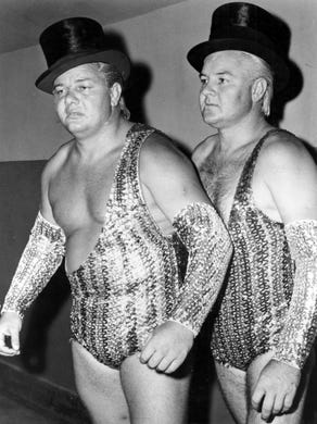 "Fargo Brothers  - Jackie Fargo (left) and ""Roughhouse"""
