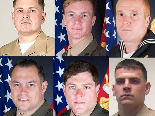 Photos of the Marines killed Monday, July 10, 2017 in Mississippi.