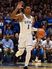 Nov 17, 2017; Durham, NC, USA; Duke Blue Devils guard Trevon Duval (1) calls a play during the first half against the Southern Jaguars at Cameron Indoor Stadium.