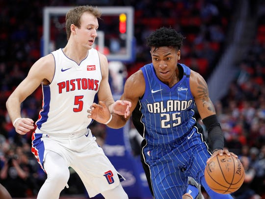 Magic forward Wesley Iwundu (25) gets defended by Pistons