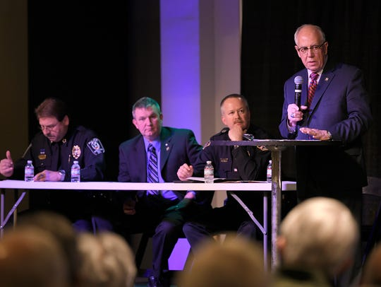Williamson County Sheriff Jeff Long, right, and police chiefs from Brentwood, Franklin and Spring Hill on April 5.