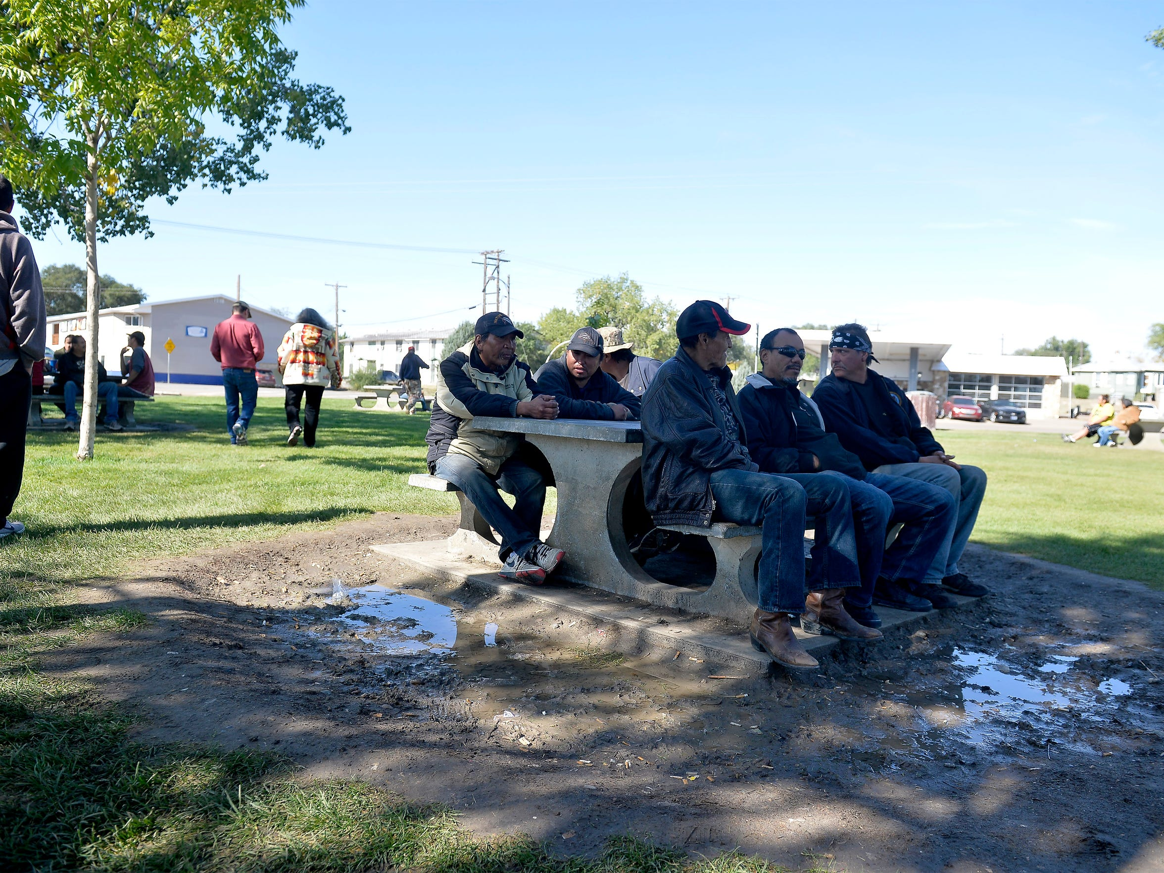 Triangle Park in Wolf Point is a hangout spot for people experience homelessness who congregate at the park all day most days.