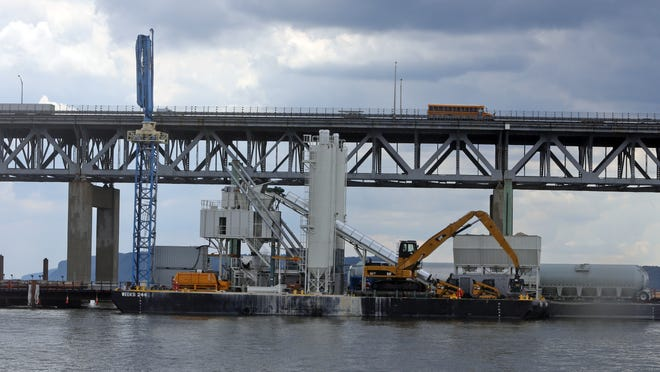 The floating concrete plant being used in the construction of the replacement of the Tappan Zee Bridge, photographed July 17, 2014. The concrete plant is presently being used near the Tarrytown side of the bridge.