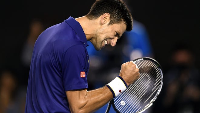 Novak Djokovic of Serbia reacts during his final match against Andy Murray of Britain at the Australian Open on Jan. 31, 2016.