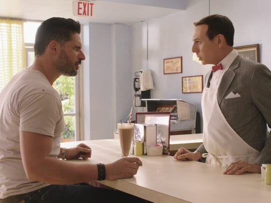 Pee-wee (Paul Reubens) meets a mysterious stranger (Joe Manganiello), which gets the adventure started in 'Pee-wee's Big Holiday.' The Netflix original film is out March 18.