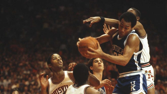 """A scene from the original 1983 NCAA tournament """"dream game"""" between U of L and UK in Knoxville, TN. U of L went on to win the game 80-68 in overtime."""